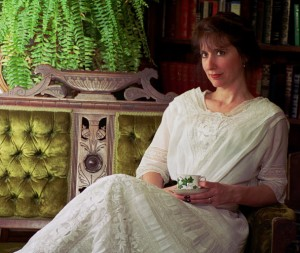 Lori Knowles wearing an antique Edwardian tea dress